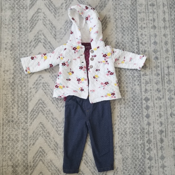 Carter's baby girl 9 month 3 piece outfit set